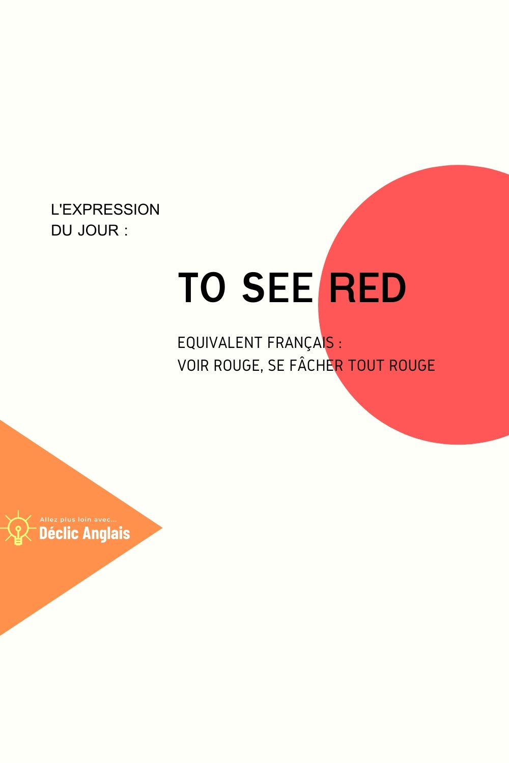 English expression to see red explained in French