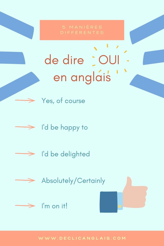 Cinq manières différentes de dire oui en anglais
