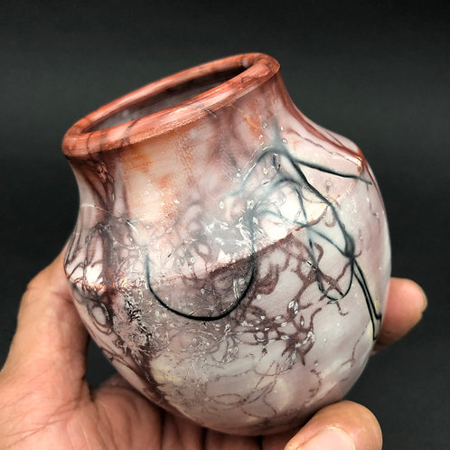 "Saggar-Fired Vase 4"" x 4"""