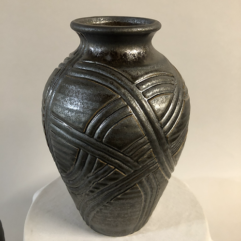 "Carved Stoneware  vessel - 10"" x 6.5"""