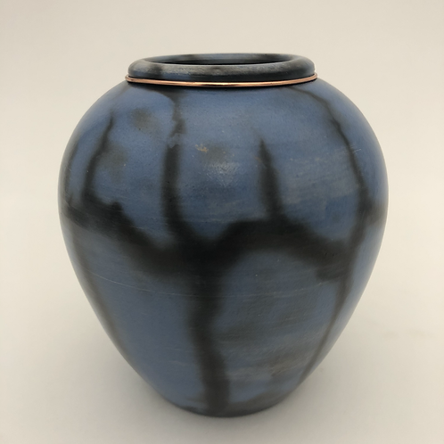 "Saggar-Fired Vase 4.75"" x 4.25"""