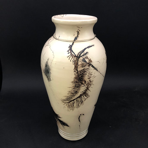 "Large Smoked Feather and Hair Vessel 13 3/8"" x 6 1/2"""