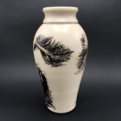 """Smoked Feathers and Horse Hair Vessel - 11.5"""" x 6"""""""