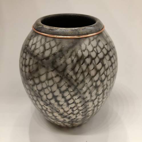 Saggar fired vase 4 X 3.5""