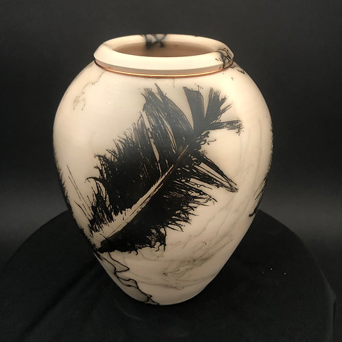 "Feather and Hair Vessel with copper band - 6.5"" x 5.5"""