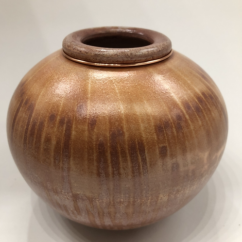 Saggar fired vase 4 1/2 X 5 1/8""