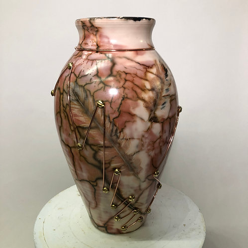 "Saggar-Fired Vase with copper and Brass- 11.5"" x 6.5"""