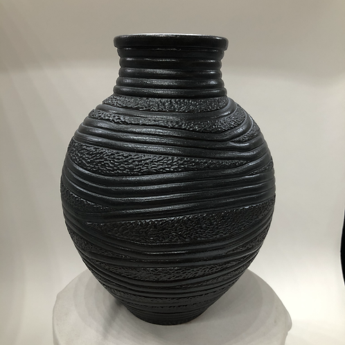 "Carved Stoneware  vessel - 11"" x 8.5"""