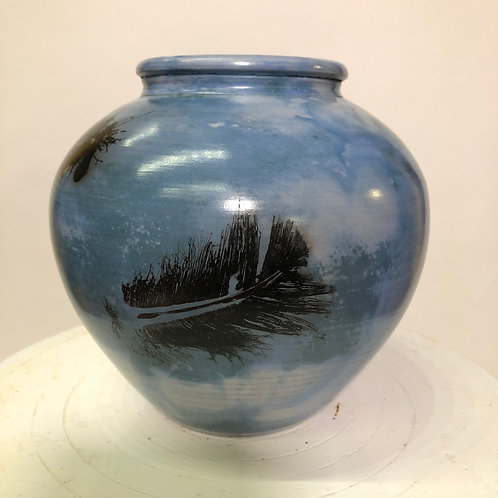 "Saggar-Fired Vase - 5.5"" x 6"""