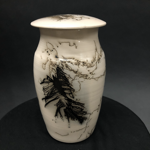 "Smoked Lidded Vessel - 6 3/4"" x  4"""