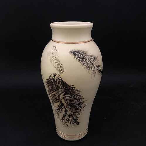 """Large Smoked Feather and Hair Vessel 11 3/8"""" x 5 3/4"""""""