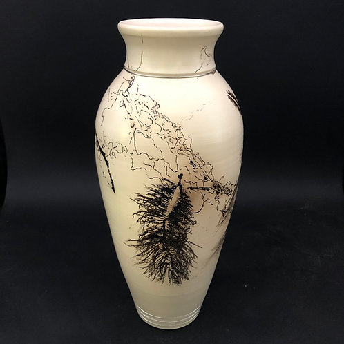"""Large Smoked Feather and Hair Vessel 14 1/2"""" x 6 3/8"""""""