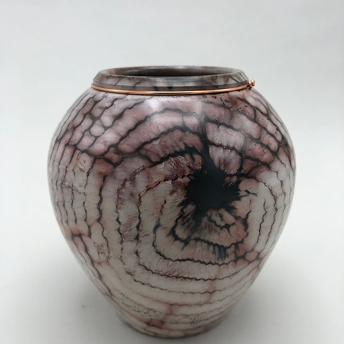 "Saggar-Fired Vase 5"" x 4 7/8"""