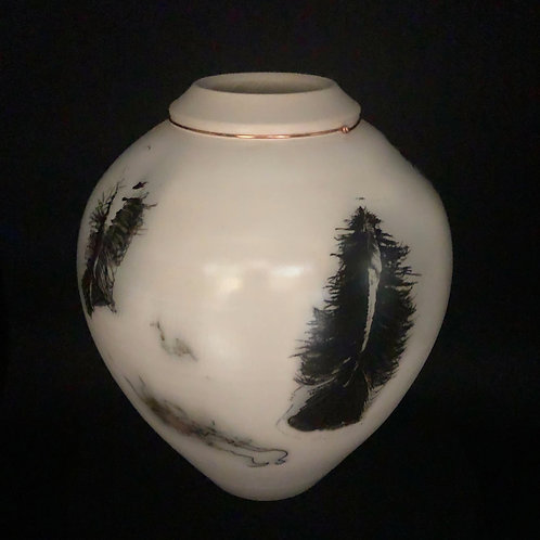 "Smoked Feather and Hair Vessel - 9"" x 7.5"""