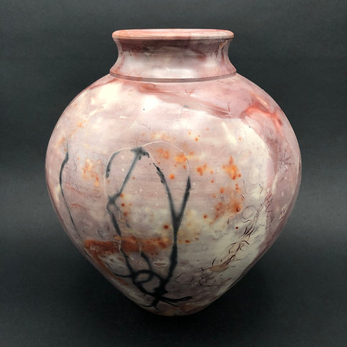 "Saggar-Fired Vase 9.7"" x 8.5"""
