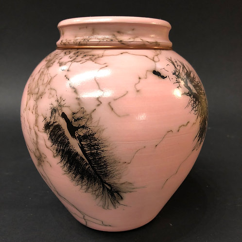 """Pink Feather and Hair Vase - 5.25"""" x 5.25"""""""