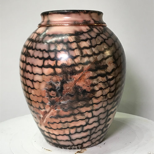 """Saggar-Fired Vase with copper band- 5.7"""" x 4.7"""""""