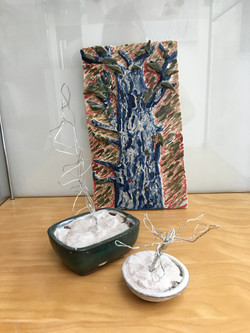 13. Tom Coomber,Ceramic tile, 15 x 25 x 2cm, Bonsai Trees, 18 x 15 x 19, £ offers