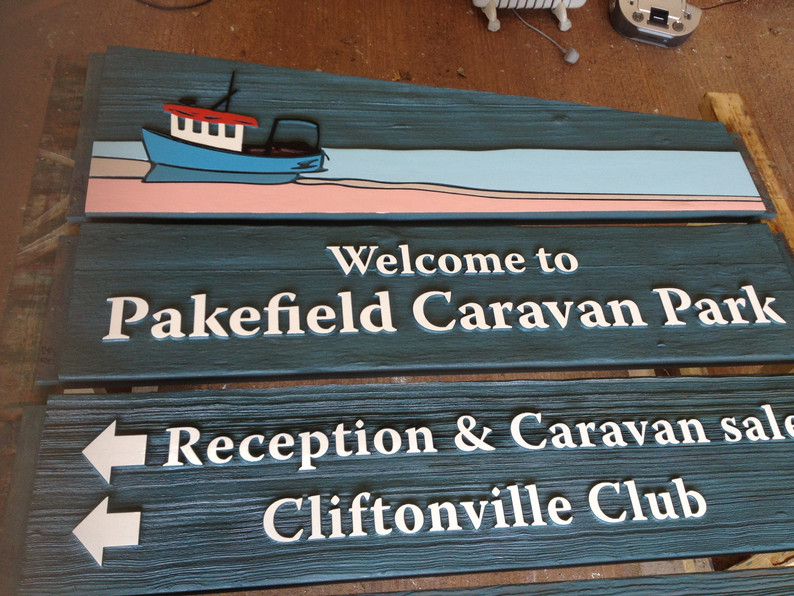 Handpainted sign board.