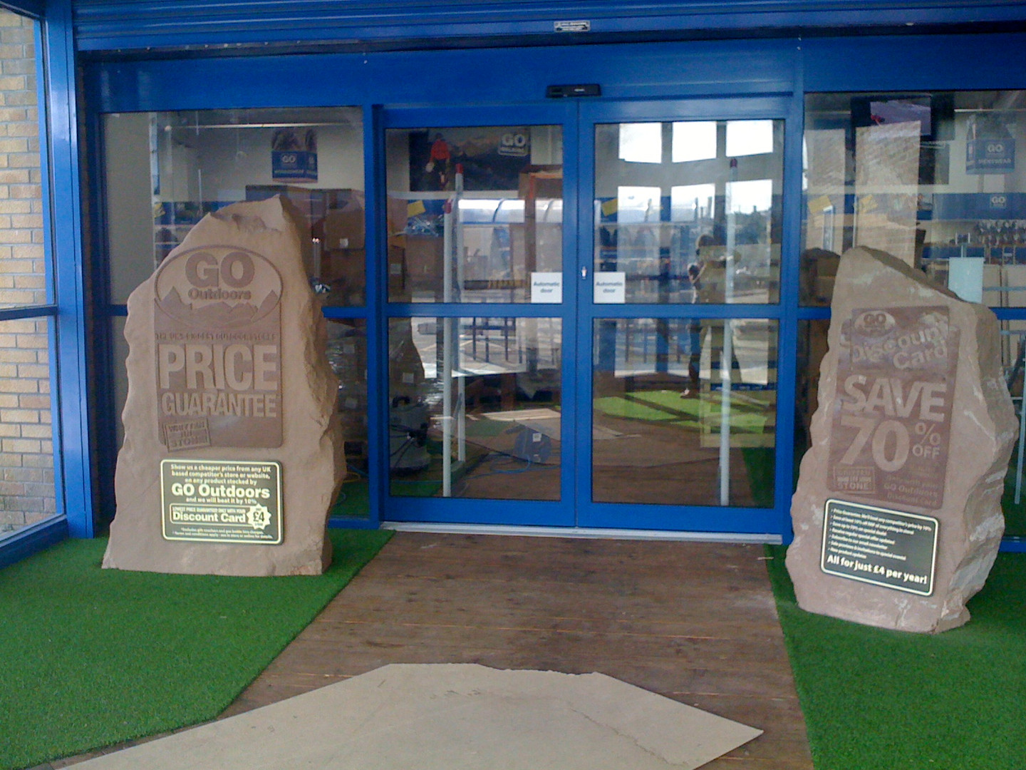 Go Outdoors branded entrance stones