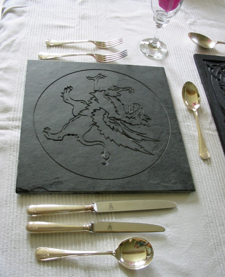 Slate table place setting