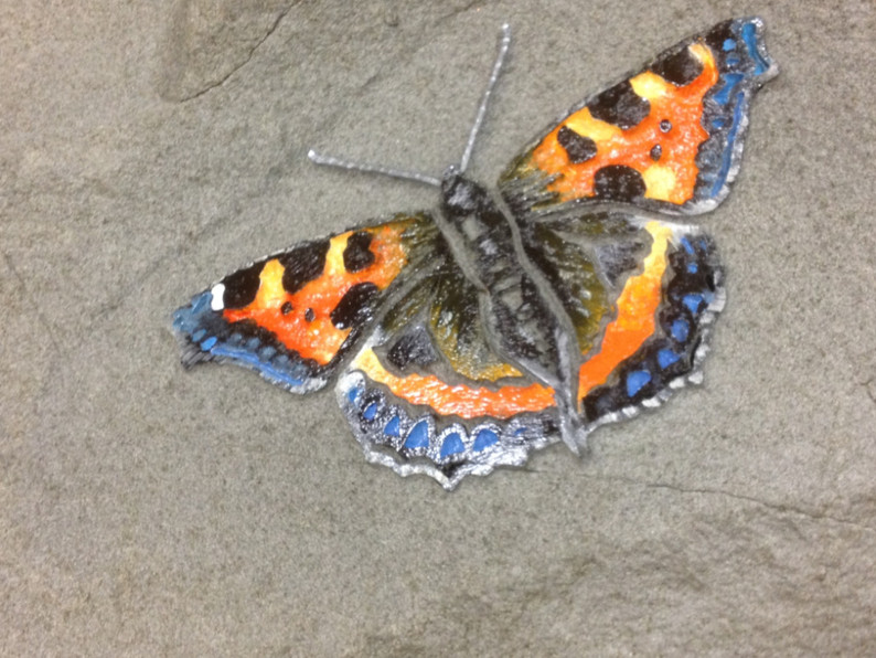 Handpainted sandblasted butterfly