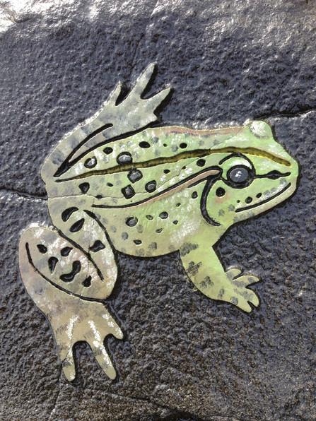 Handpainted sandblasted frog.
