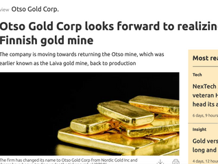 Otso Gold Corp looks forward to realizing value of Finnish gold mine