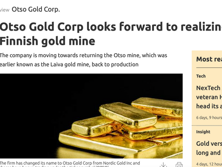 Otso Gold Corp looks forward to realizing value of Finnish gold mine