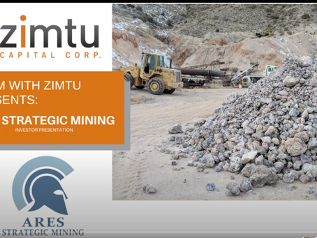'Zoom with Zimtu' #5 investor presentation with Ares Strategic Mining - October 1st, 2020