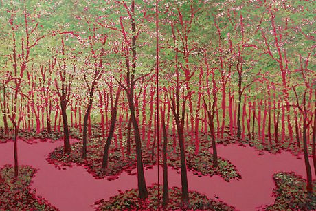 Joaquin Navarro Pink Forest Diptych #2