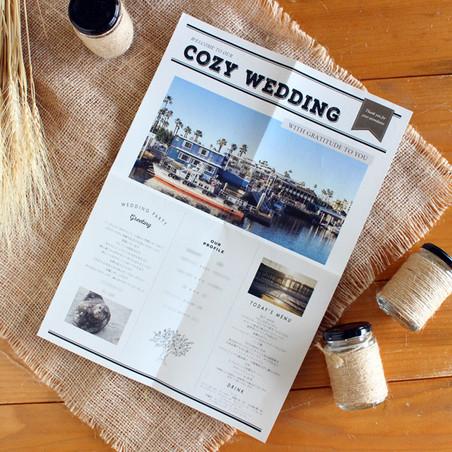 テーマは「COZY WEDDING」。 その名の通り、ゲストが居心地よく感じられるような リラックスできるお写真をお選びいただきました♪