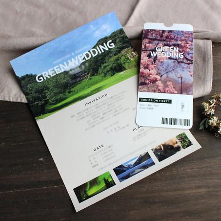 テーマは「GREEN WEDDING」。大きく広がる緑と青空が印象的でテーマにふさわしい写真ですね!春にご結婚式を挙げたこちらのおふたり。チケットの桜の写真もその季節にぴったりです♪