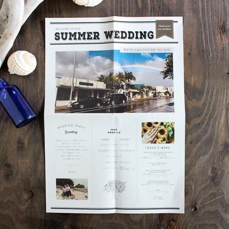 テーマは「SUMMER WEDDING」。大きくくっきりと写った虹が何とも印象的です…!ひまわりや砂浜…と夏を感じられる写真をお選びいただきました♪