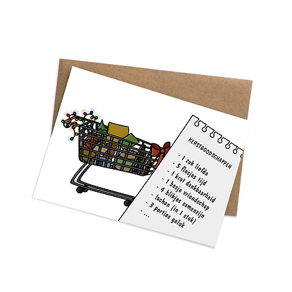 Kerstboodschappen - wenskaart
