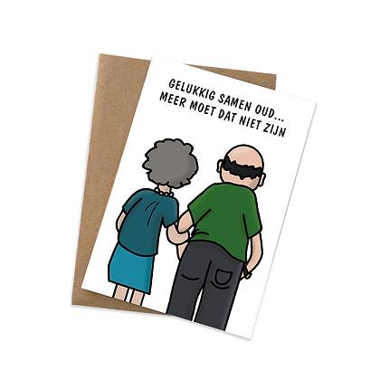 Gelukkig samen oud - wenskaart