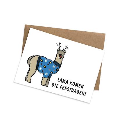 Lama komen die feestdagen - wenskaart