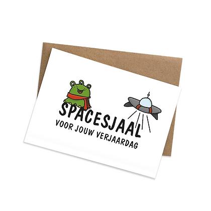 Spacesjaal voor jouw verjaardag - wenskaart