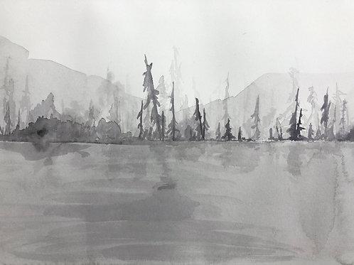 "Inktober 15: Original 7""x10"" ink landscape painting on paper"
