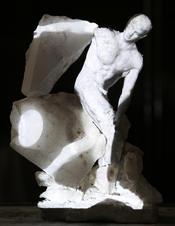 3D print, alabaster, oil paint, projection