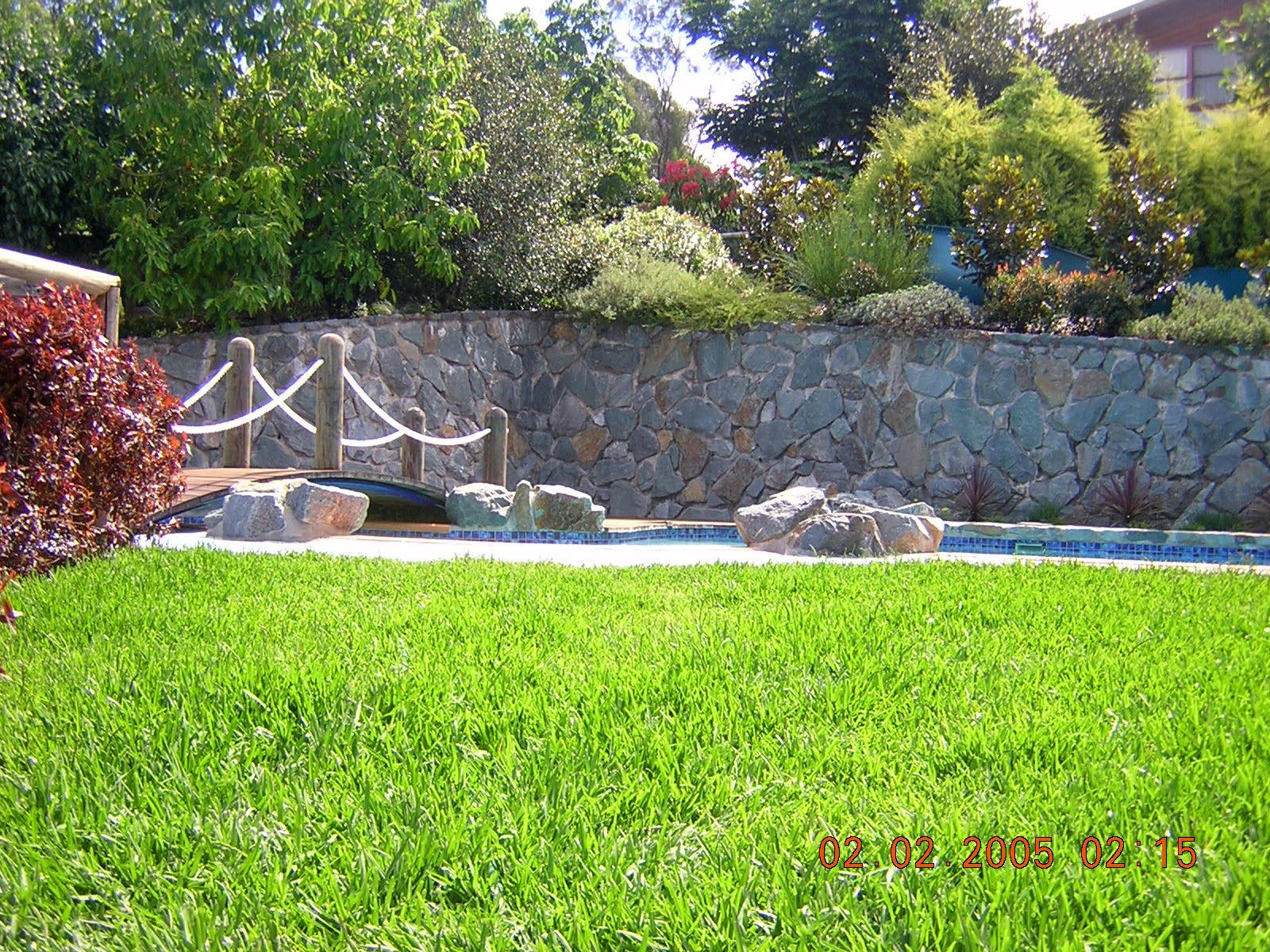 Poolside Basalt Retaining Wall