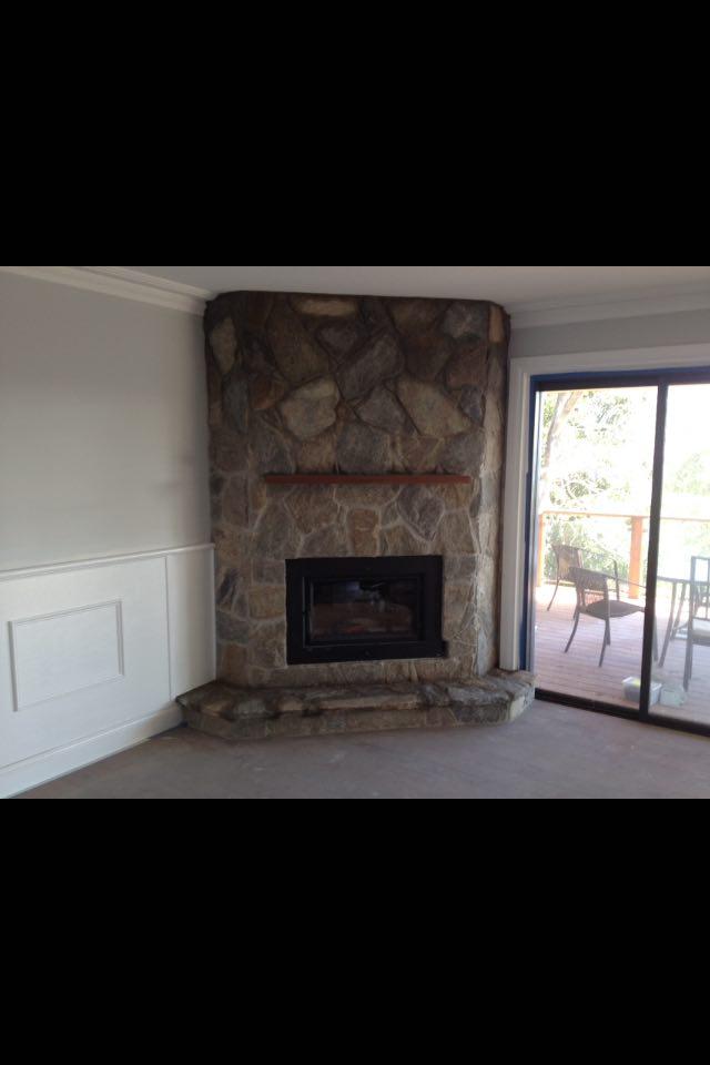 Basalt stone fireplace