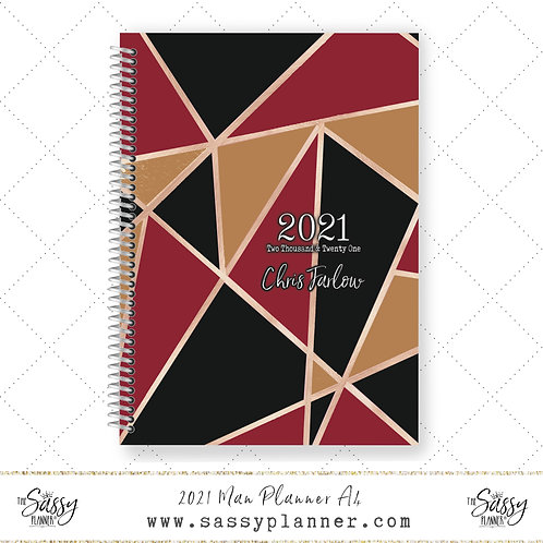 A4 2021 Man Planner (Red Geo Cover)