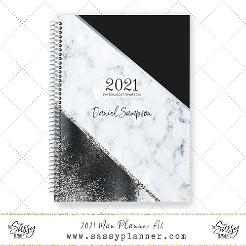 A4 2021 Man Planner (Silver Marble Cover)