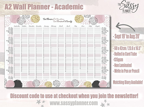 A2 Wall Planner 2019-2020 'Dottie' Design Academic Year