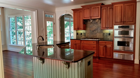 cherry cabinets/painted island