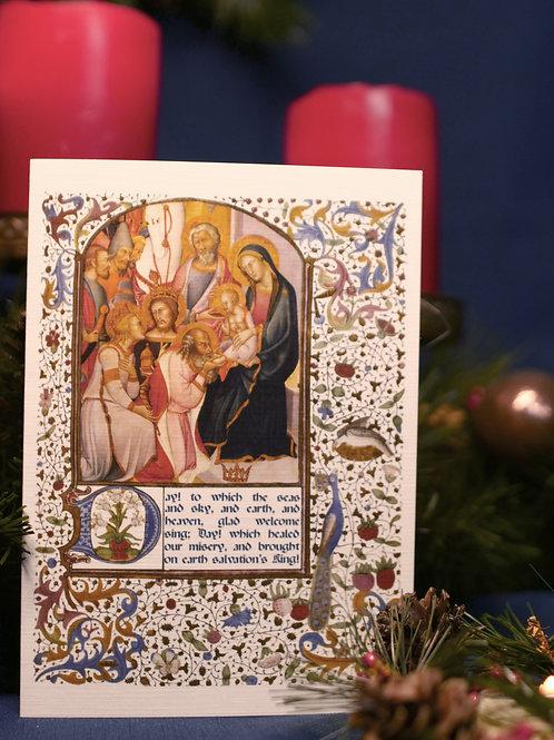 Adoration of the Magi Illumination Christmas Card- Bartolo di Fredi
