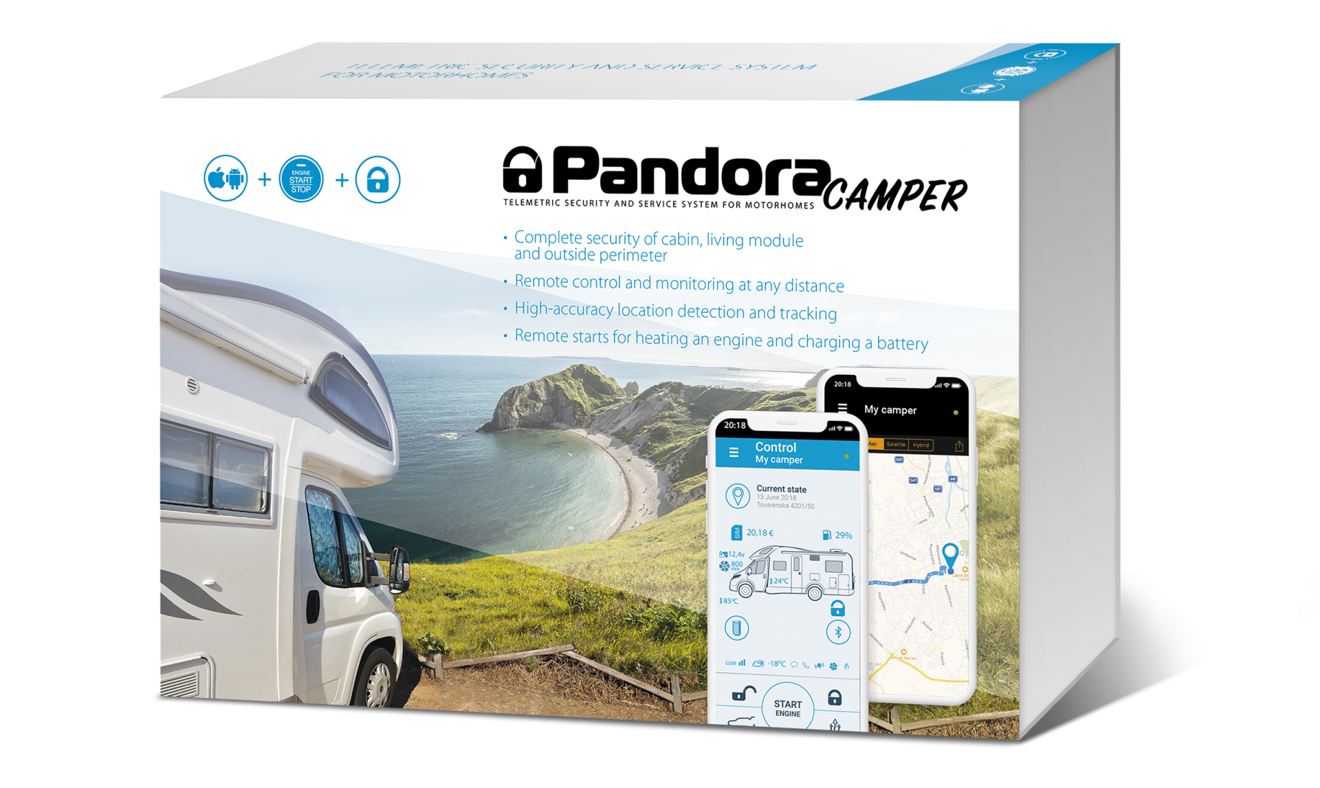 Pandora Camper alarm which keeps you connected to your Motorhome (RV) through your smartphone. also