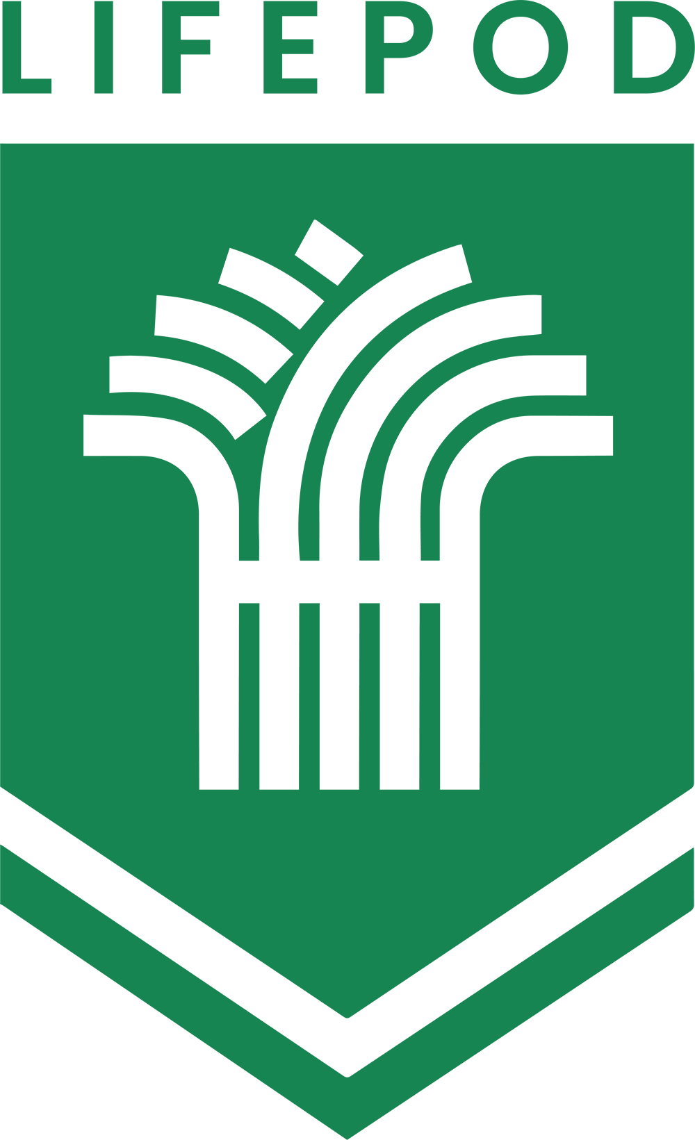 The LifePod Logo: A Banner with a lower chevron featuring a bushel of wheat capped by the word LifePod