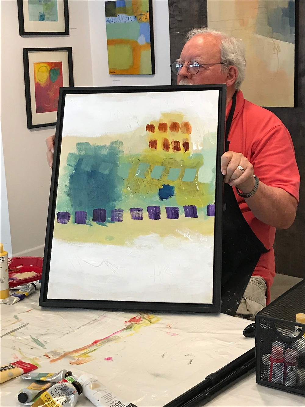 "Thanks to the hundred or so visitors to the Claremont Heritage Gallery during the month of August to view my exhibit ""Color at Play.""  I did 2 workshops on painting and viewing abstract which were a lot of fun.  Groups helped decide on color and composition.  The act of creativity is an act of resistance."